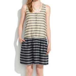 Madewell Trelis Navy Drop Waist Sleeveless Dress
